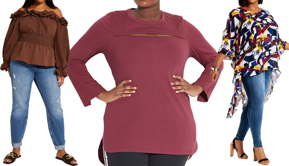 item 11 of Gallery image - (De izquierda a derecha) Blusa Plus Brown Ruffled Bardot Top, de River Island; túnica Peek-a-boo Tunic en color borgoña, de See Rose Go; blusa Geo Sheer Cold Shoulder Slit Top, de Ashley Stewart.