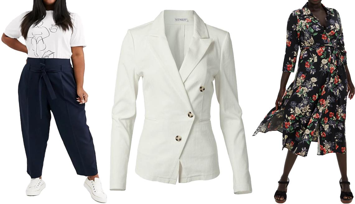 item 7 of Gallery image - (De izquierda a derecha) Pantalones Curve Tailored Tie Waist Tapered Grazer Pants en azul marino, de Asos Design; bléiser Plus Size Twill Button Front Blazer en blanco, de Venus; vestido Tea Length Shirt Dress en Challis Black Floral, de Torrid.