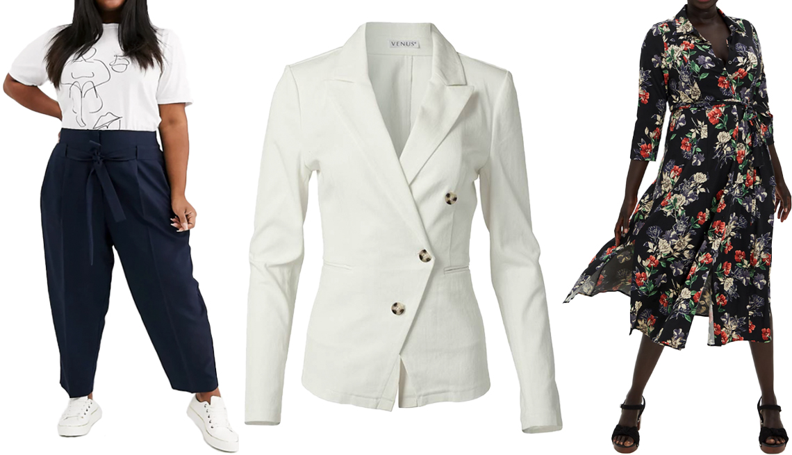 item 7 of Gallery image - Asos Design Curve Tailored Tie Waist Tapered Ankle Grazer Pants in Navy; Venus Plus Size Twill Button Front Blazer in White; Torrid Tea Length Shirt Dress in Challis Black Floral