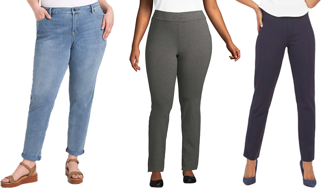 item 10 of Gallery image - Lane Bryant Signature Fit Knit Denim Boyfriend Jean; Lands' End Women's Plus Size Starfish Mid Rise Slim Leg Elastic Waist Pull On Pants in Charcoal Heather; Spanx The Perfect Pant in Slim Straight