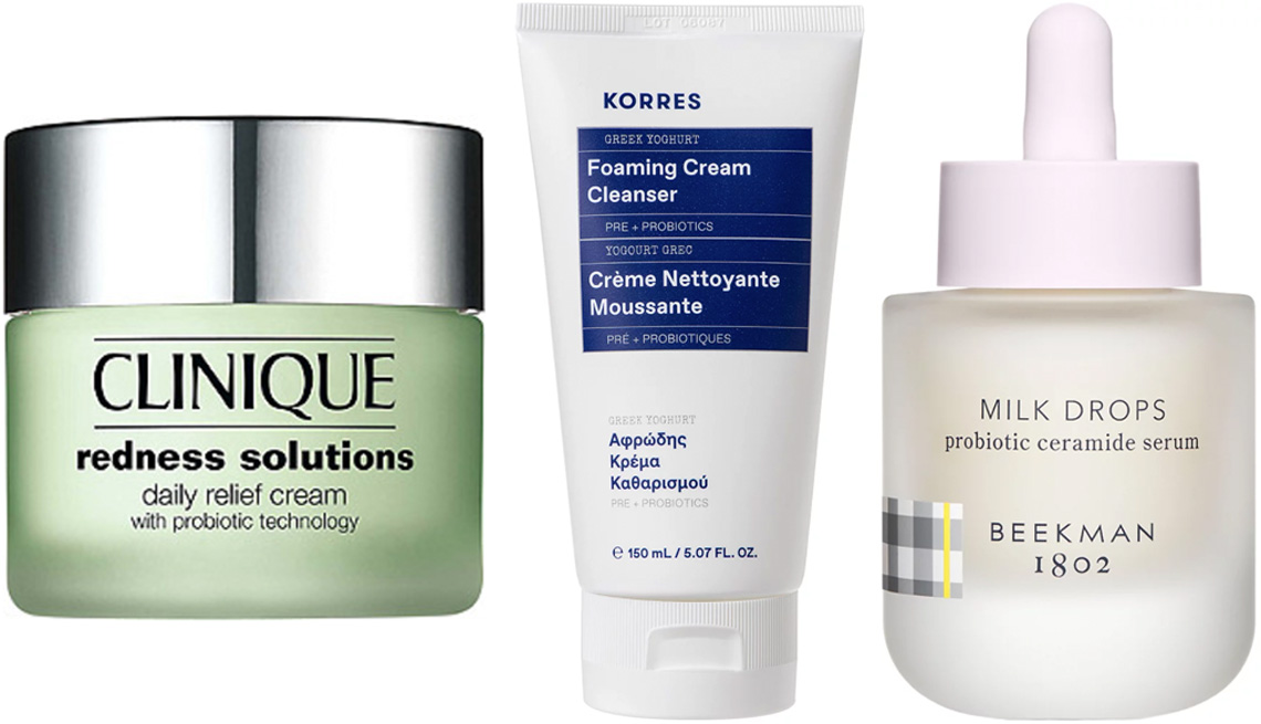 item 1 of Gallery image - Clinique Redness Solutions Daily Relief Cream with Probiotic Technology; Korres Yoghurt Foaming Cream Cleanser; Beekman 1802 Milk Drops Probiotic Ceramide Serum