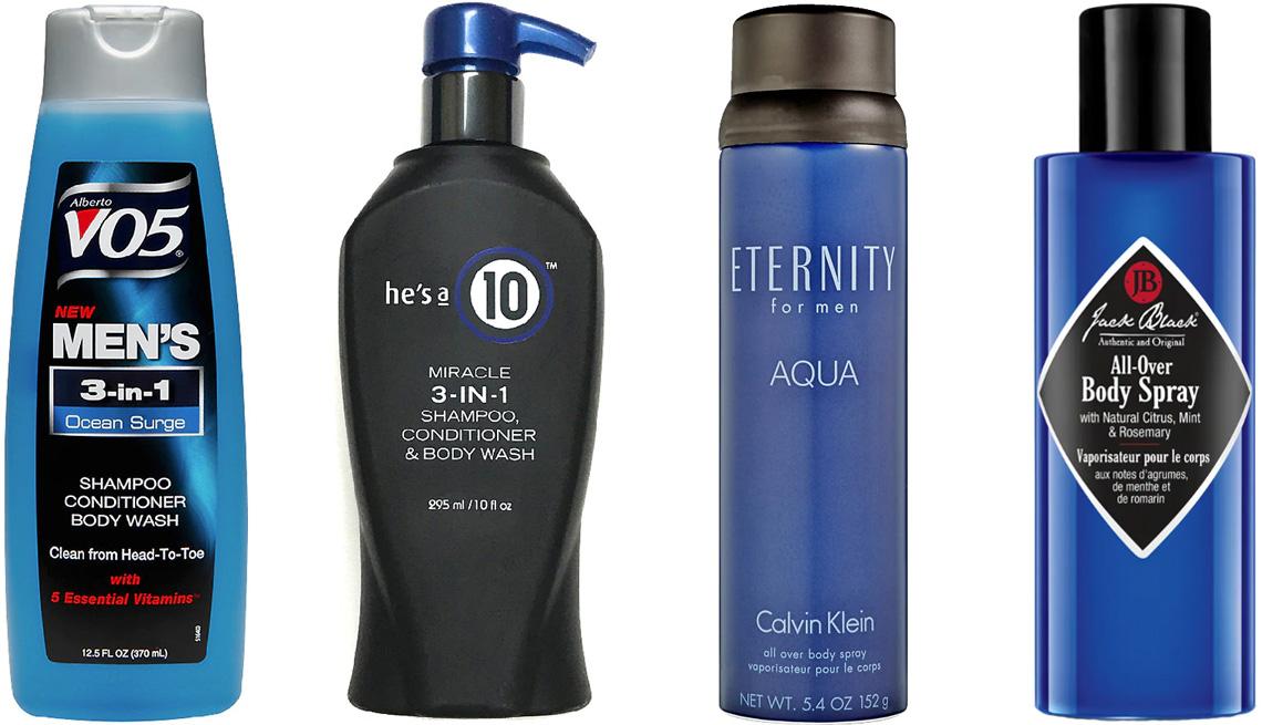 item 9 of Gallery image - (De izquierda a derecha) Alberto VO5 Men's 3-In-1 Shampoo, Conditioner & Body Wash in Ocean Surge; He's a 10 Miracle 3-In-1 Shampoo, Conditioner & Body Wash; Calvin Klein Eternity for Men Aqua Body Spray; Jack Black All-Over Body Spray.