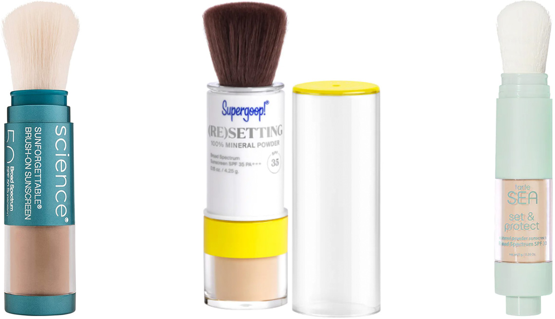 item 4 of Gallery image - ColorEscience Sunforgettable Mineral SPF Sunscreen Brush; Supergoop! (Re)setting 100% Mineral Powder SPF 35; Tarte Sea Set & Protect Mineral Sunscreen Powder SPF 30