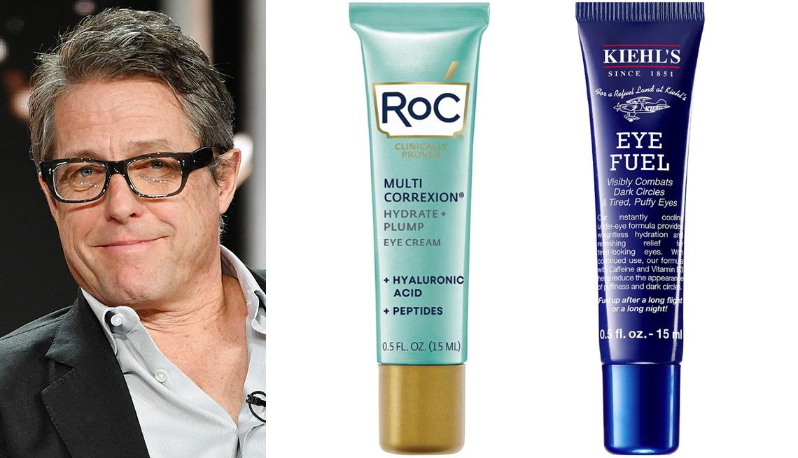 item 5 of Gallery image - Hugh Grant; RoC Multi-Correxion Hydrate + Plump Hyaluronic Acid Eye Cream; Kiehl's Since 1851 Eye Fuel