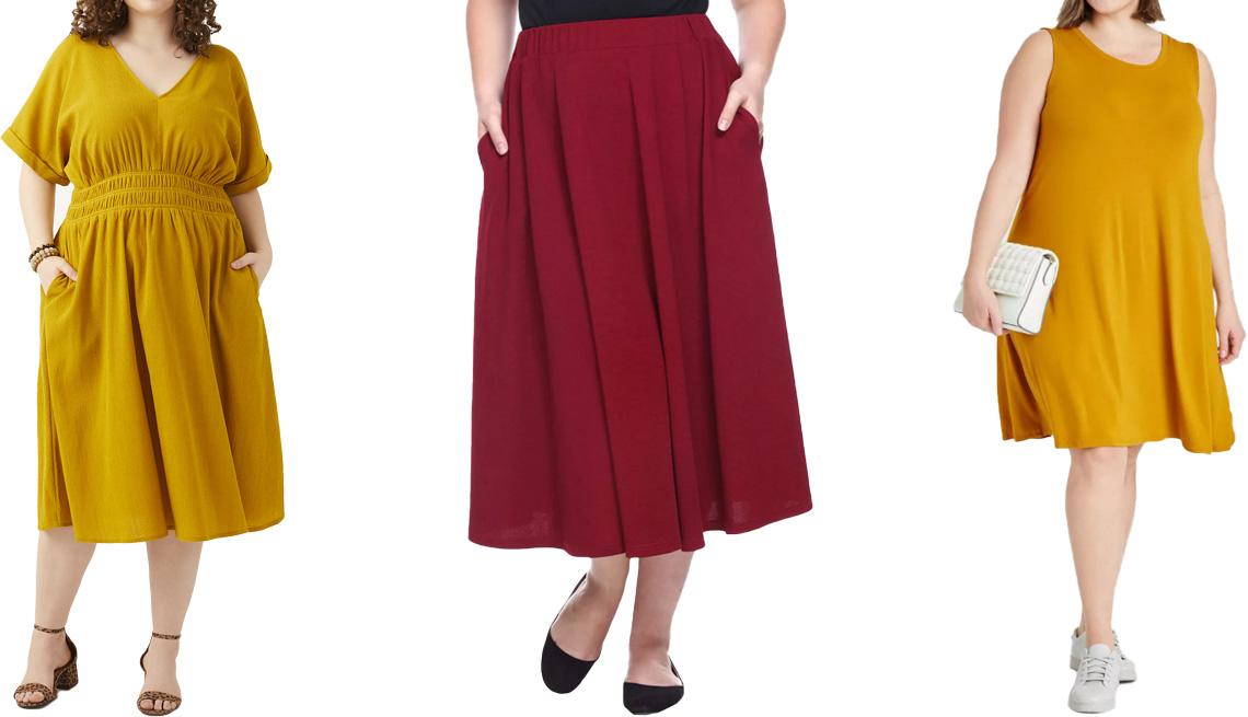 item 6 of Gallery image - (De izquierda a derecha) Vestido Adorned Noris V-Neck Midi Dress en amarillo, de Dia & Co; faldas Plus Size Tasmin Flare Midi Skirts en color borgoña, de White Mark; vestido Women's Plus Size Knit Swing Dress en amarillo, de Ava & Viv.