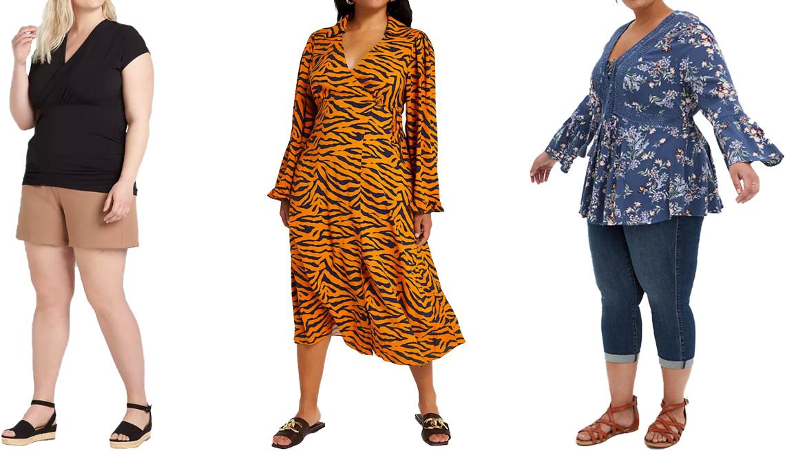 item 5 of Gallery image - (De izquierda a derecha) Blusa Crossover Ruched Side Top en Black, de Lane Bryant; vestido Plus Brown Animal Print Wrap Midi Dress, de River Island; blusa Vintage Indigo Floral Gauze Lace-Up Babydoll Blouse en Floral-Blue, de Torrid.