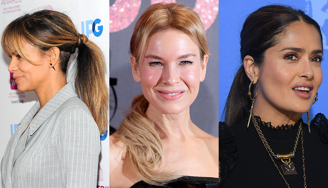 item 7 of Gallery image - Side by side images of Halle Berry, Renée Zellweger and Salma Hayek wearing a ponytail hairstyle