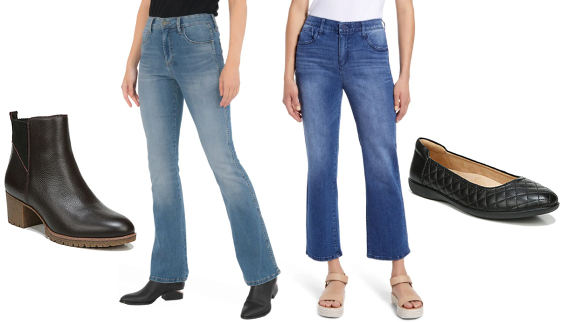 item 2 of Gallery image - Dr. Scholl's Lively Bootie in Dark Brown; Kut From the Kloth Ana Fab Ab High Waist Flare Jeans; Wit & Wisdom Ab-Solution High-Waist Flare Leg Jeans; Naturalizer Flexy 5 Ballet Flat in Black