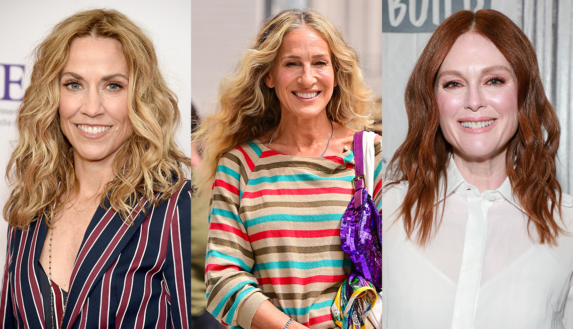 item 10 of Gallery image - Side by side images of Sheryl Crow, Sarah Jessica Parker and Julianne Moore with a boho wave hairstyle