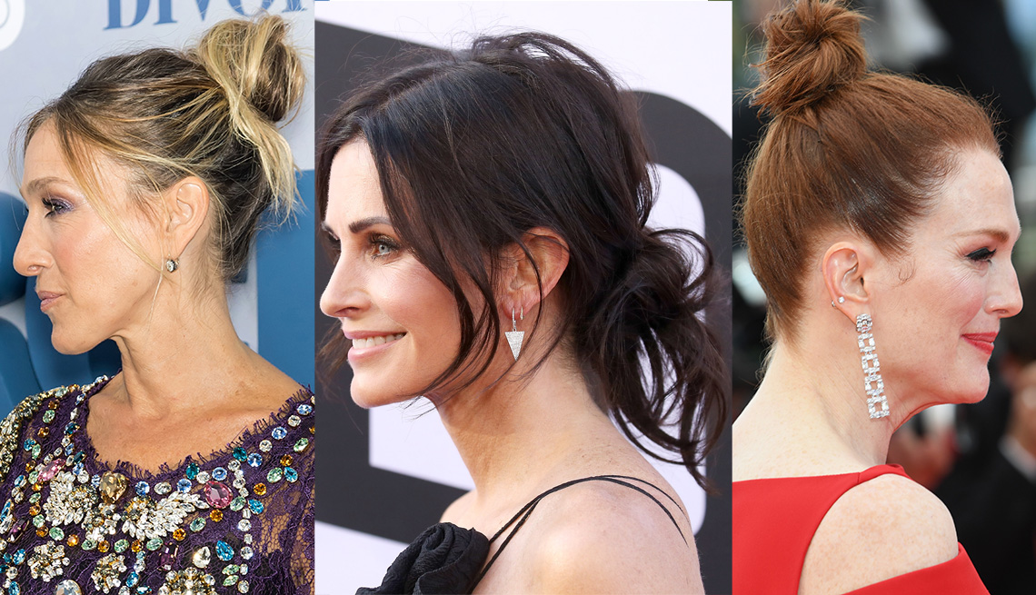 item 8 of Gallery image - Sarah Jessica Parker, Courteney Cox and Julianne Moore all wear a bun or topknot hairstyle