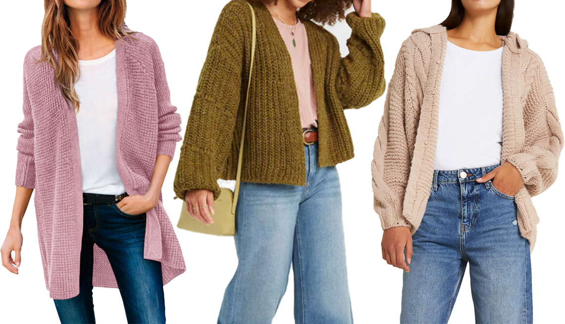 item 2 of Gallery image - Ellos Open Front Waffle Cardigan in Dusty Pink; Universal Thread Women's Cardigan in Green; River Island Beige Cable Knit Hooded Cardigan