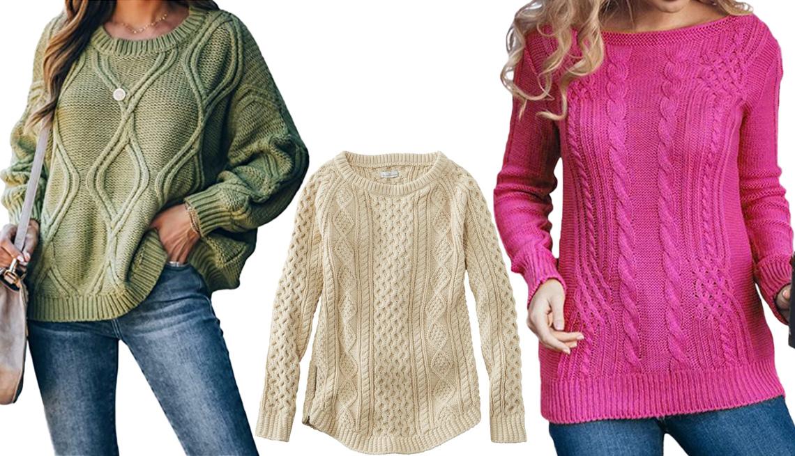 item 6 of Gallery image - (De izquierda a derecha) Suéter Jollycode Women's Long Sleeve Cable Knit Pullover Sweater en verde militar; suéter L.L. Bean Women's Signature Cotton Fisherman Tunic Sweater en crema; suéter Wodstyle Women's Cable Knitted Jumper Pullover en rosa rojizo.