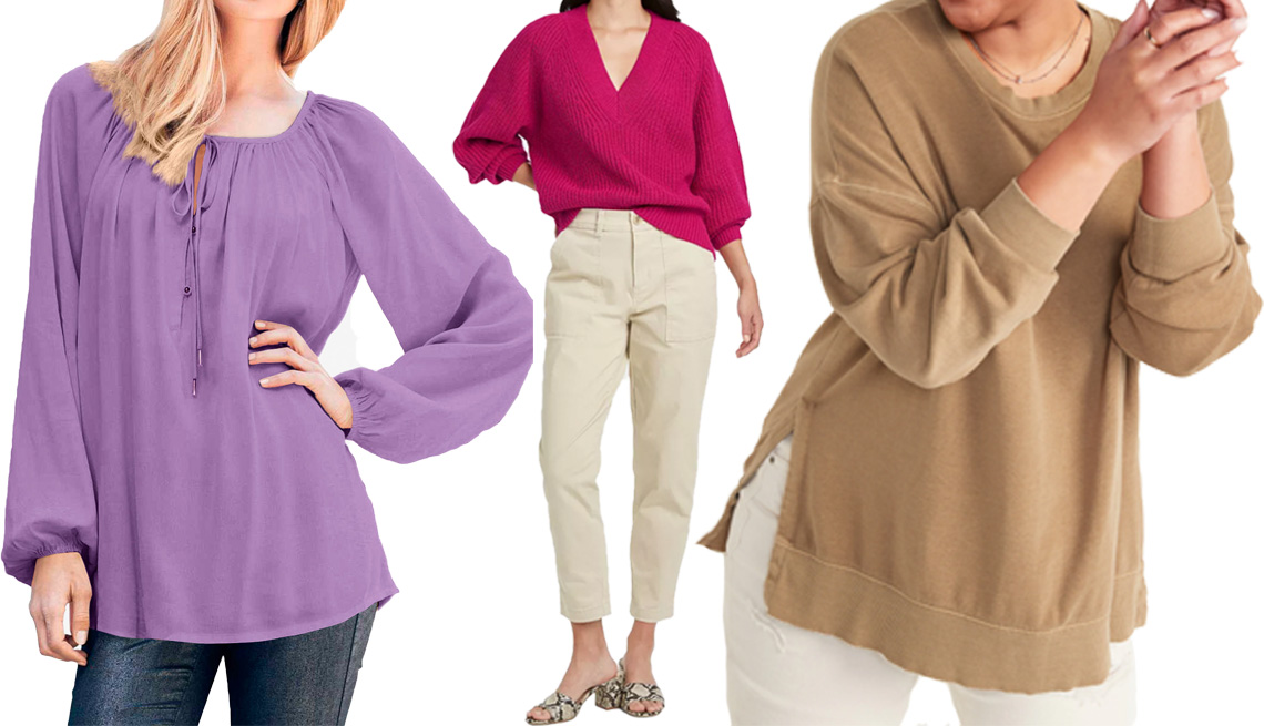item 7 of Gallery image - Ellos Tie Neck Peasant Tunic in Dark Lavender; A New Day Women's V-Neck Pullover Sweater in Dark Pink; Old Navy Vintage Long-Sleeve Garment-Dyed French-Terry Tunic Sweatshirt for Women in Bourbon