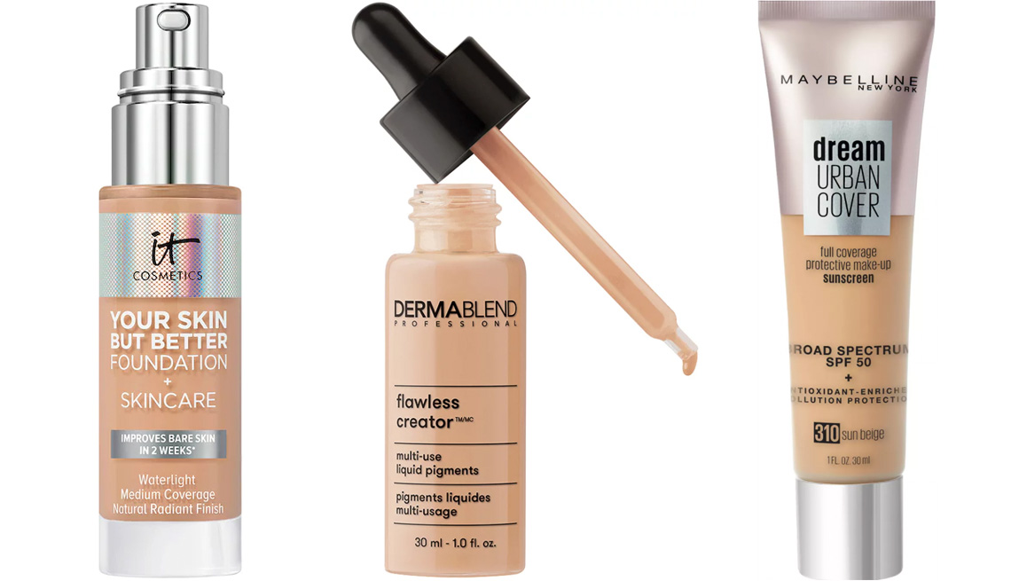 item 3 of Gallery image - It Cosmetics Your Skin But Better Foundation + Skincare; Dermablend Flawless Creator Lightweight Foundation; Maybelline Dream Urban Cover Full Coverage Foundation SPF 50