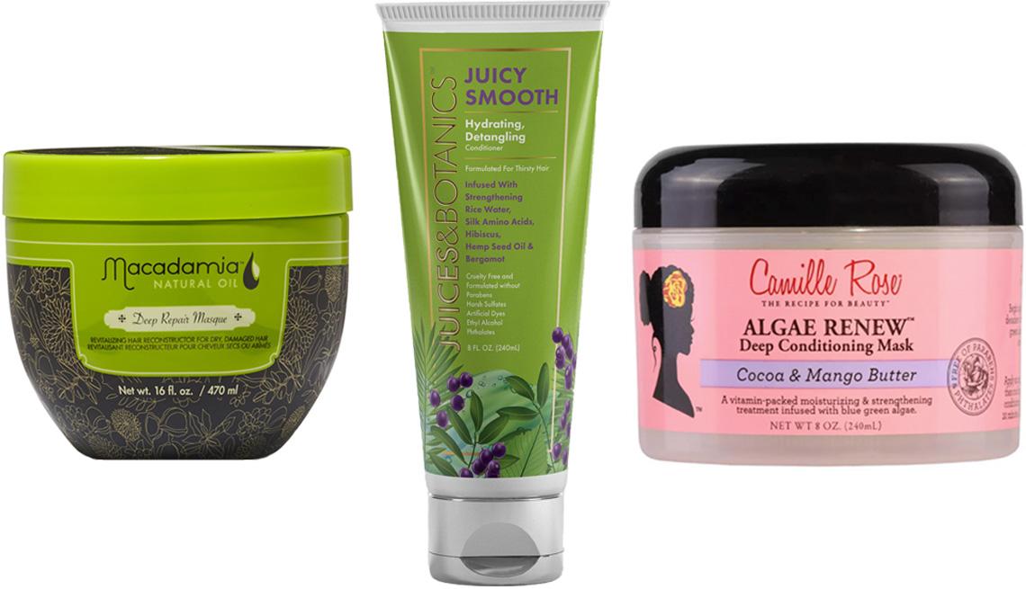 Macadamia Natural Oil Deep Repair Masque; Juices & Botanics Juicy Smooth Hydrating Detangling Conditioner; Camille Rose Algae Renew Deep Conditioning Mask