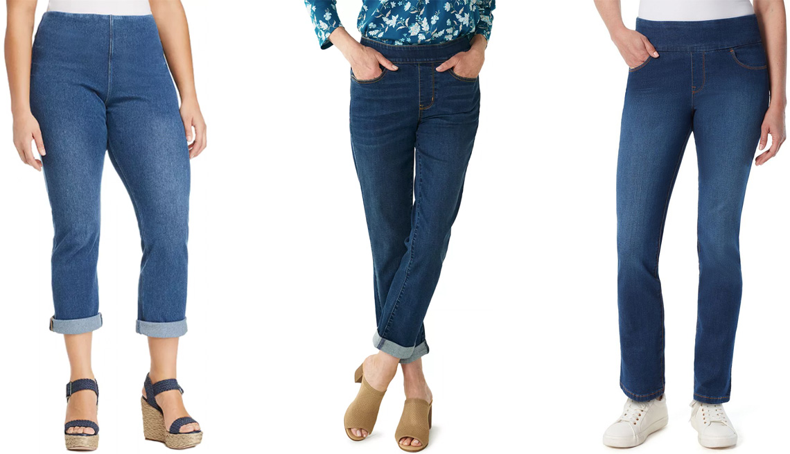 item 7 of Gallery image - (Izq. a der.) Jeans Lysee Plus Pull-On Boyfriend Jeans en Mid Wash; jeans Women's Croft & Barrow Girlfriend Pull-On Jeans en Medium Wash; jeans Women's Gloria Vanderbilt Amanda Pull-On Jeans en Vermont.