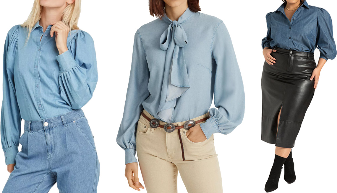 item 5 of Gallery image - Who What Wear Women's Ruffle Long Sleeve Button-Down Shirt; Lauren Ralph Lauren Chambray Bow Neck Top in Indigo Mist Wash; Eloquii Puff Sleeve Chambray Button Down in Medium Wash