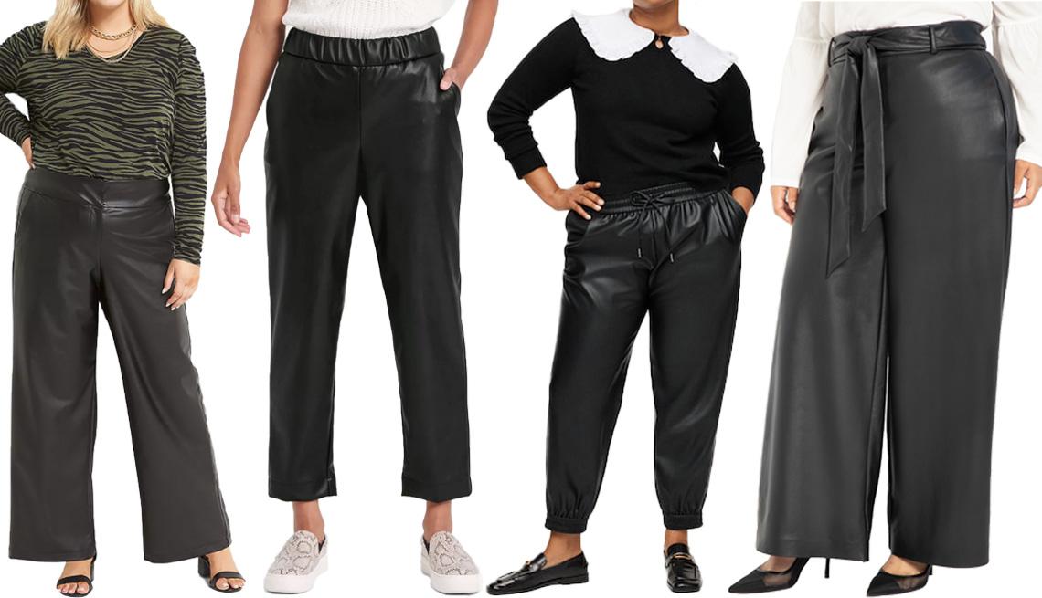 item 8 of Gallery image - (De izquierda a derecha) Pantalón Lane Bryant Faux Leather Wide-Leg Pant en negro; pantalón A New Day Women's High-Rise Faux Leather Pull-on Pants; pantalón de cuero sintético Mango Faux Leather Pants en negro, talla grande; pantalón Eloquii Tie Waist Wid