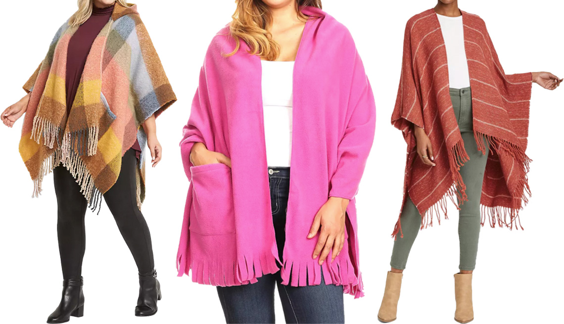 item 10 of Gallery image - Lane Bryant Checkered Poncho with Hood; White Mark Women's Three Quarter Sleeve V-Neck Wrap Sweater in Pink; Universal Thread Stripe Wrap Jacket in Rust