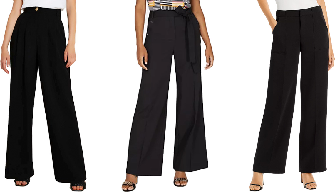 item 3 of Gallery image - River Island Black Wide leg Trousers; New York and Company Tie-Waist Wide-Leg Pant — 7th Avenue in Black; Lucy Paris Diane Wide Leg Pants in Black