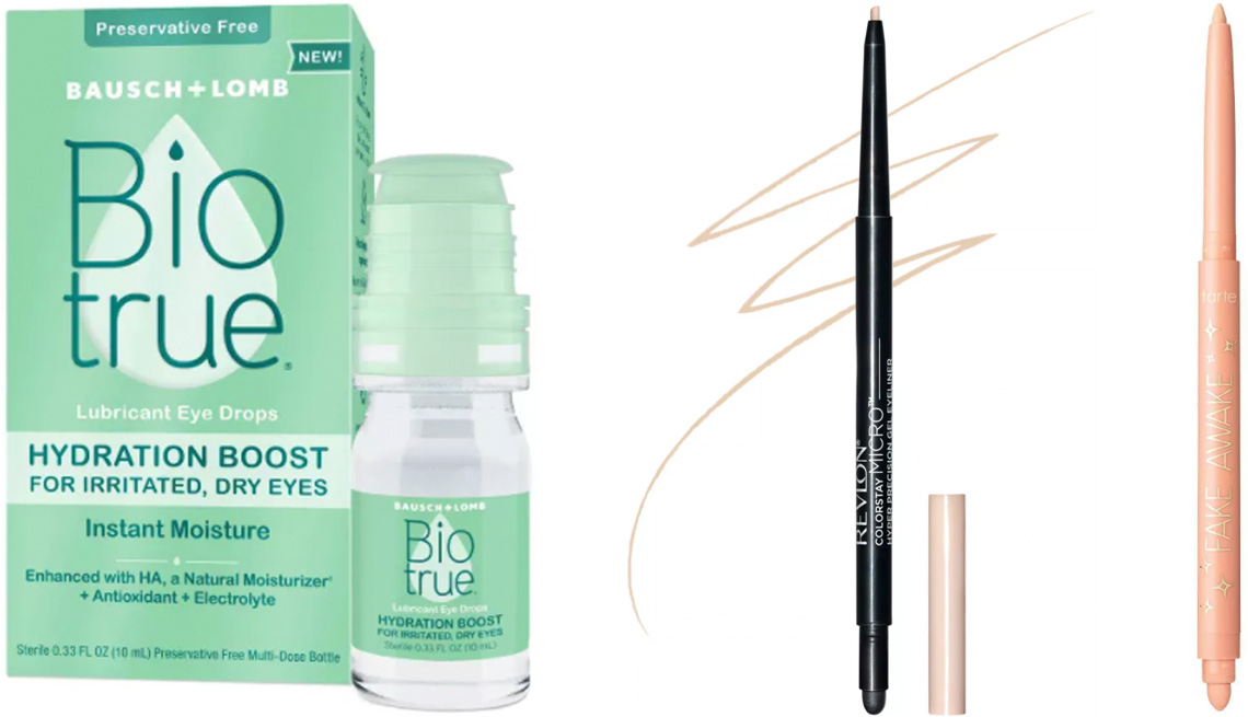 item 2 of Gallery image - Biotrue Hydration Boost Eye Drops; Revlon ColorStay Micro Hyper Precision Gel Eyeliner in Beige; Tarte Fake Awake Eye Highlight for Ulta Beauty