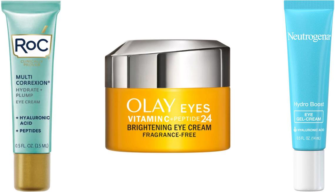 item 4 of Gallery image - RoC Multi Correxion Hydrate + Plump Eye Cream with Hyaluronic Acid; Olay Vitamin C + Peptide 24 Eye Cream; Neutrogena Hydro Boost Eye Gel-Cream