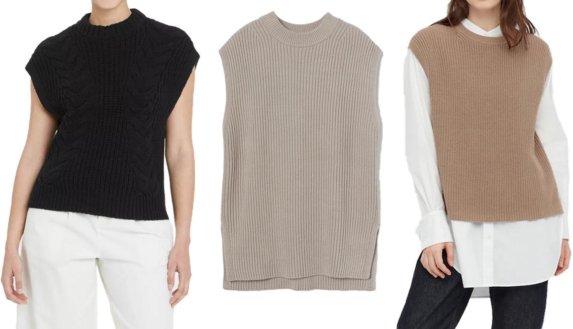 item 4 of Gallery image - (De izquierda a derecha) Chaleco A New Day Women's Crewneck Cable Knit Sweater Vest en negro; H&M Oversized Sweater Vest en gris pardo; chaleco Uniqlo Women Side Slit Vest en marrón 34.
