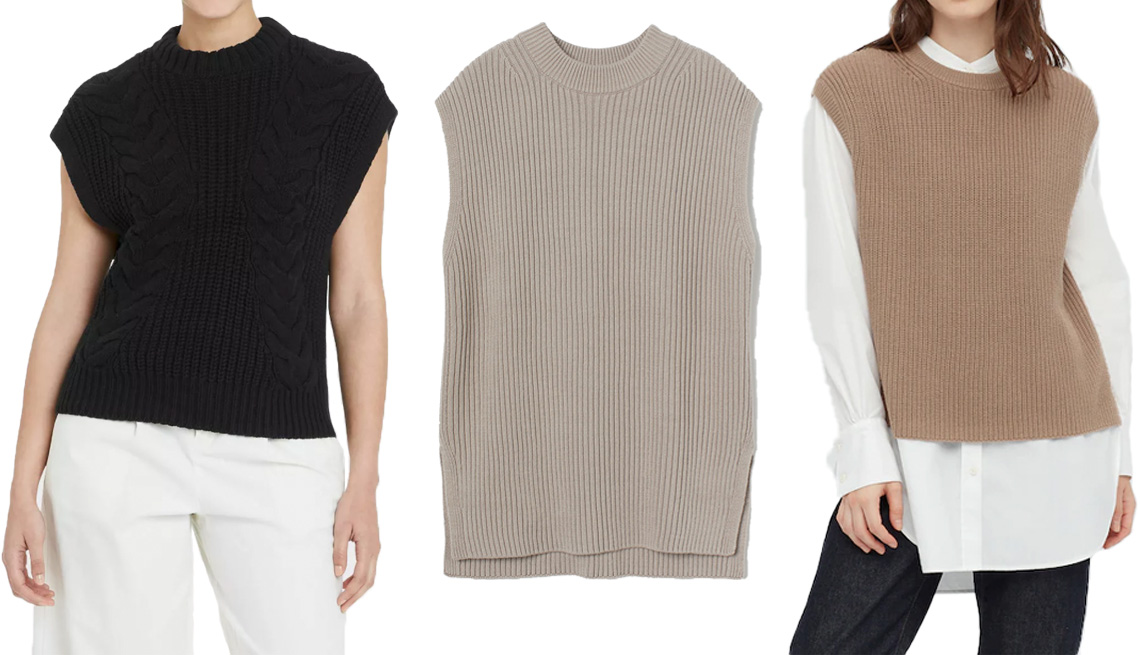 item 4 of Gallery image - A New Day Women's Crewneck Cable Knit Sweater Vest in Black; H&M Oversized Sweater Vest in Taupe; Uniqlo Women Side Slit Vest in 34 Brown