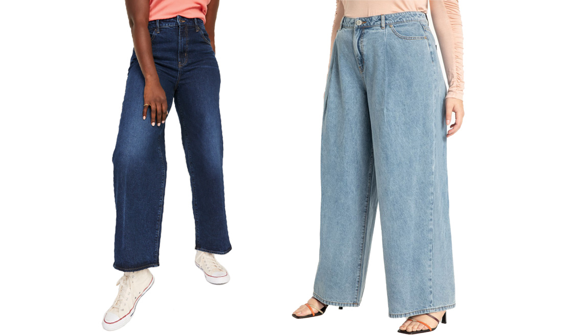 item 9 of Gallery image - Old Navy Extra High-Waisted Dark Wash Wide-Leg jeans for Women in Trisha; Eloquii Wide Leg Jean in Light Wash