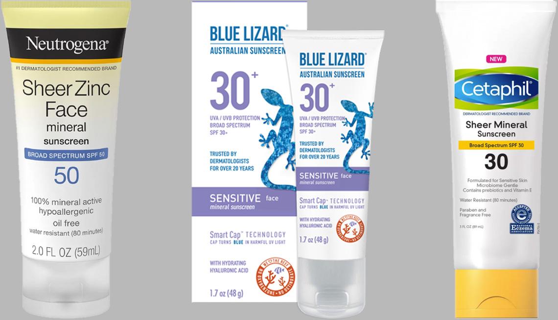 item 1 of Gallery image - Neturogena Sheer Zinc Face Mineral Sunscreen SPF 50; Blue Lizard Sensitive Face Mineral Sunscreen SPF 30+; Cetaphil Sheer Mineral Sunscreen SPF 30