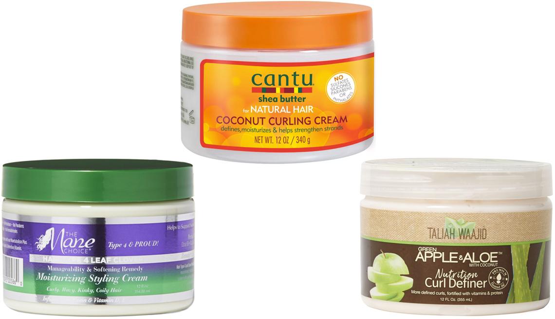 The Mane Choice Manageability & Softening Remedy Moisturizing Styling Cream; Cantu Coconut Curling Cream; Taliah Waajid Green Apple & Aloe Curl Definer