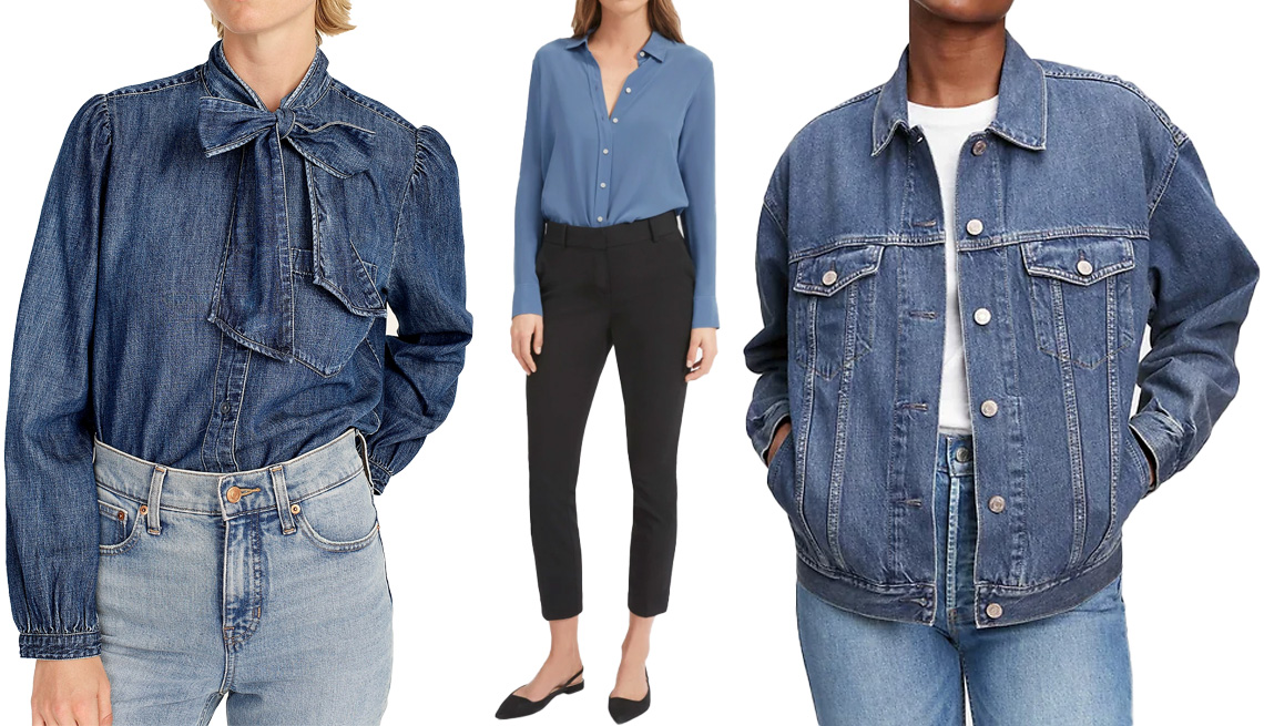 item 10 of Gallery image - J. Crew Classic Fit Tie-Neck Chambray Shirtin Ski Slope Wash; Everlane The Clean Silk Relaxed Shirt in French Blue; Gap Oversized Denim Jacket in Medium Indigo