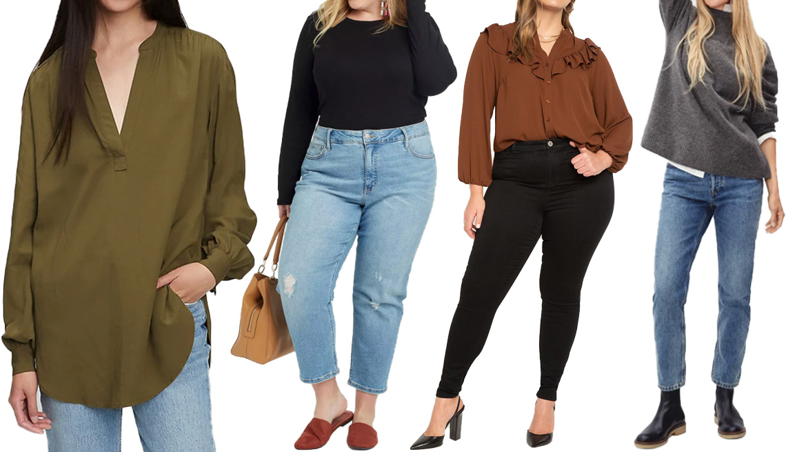 item 6 of Gallery image - Gap Popover Tunic Shirt in Olive Green; Ava & Viv Women's Plus Size Long Sleeve Crewneck T-Shirt in Black; EloquiiButton Down Top With Ruffle in Chocolate; Everlane The Cozy-Stretch Pullover in Heathered Charcoal