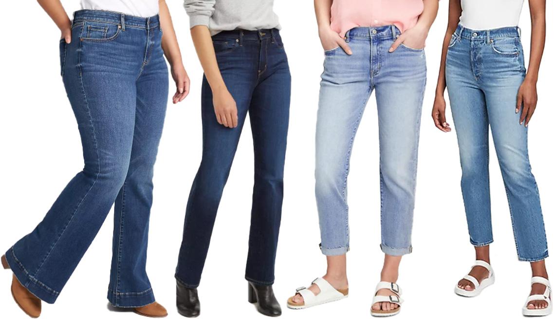 item 4 of Gallery image - (Izq. a der.) Jeans Lane Bryant Signature Fit Flare Jean Dark Wash ($49, lanebryant.com); jeans Levi's Women's Mid-Rise Classic Bootcut en Cobalt Distress ($50, target.com); jeans Gap Mid Rise Girlfriend Jeans With Washwell en Light Indigo ($70, gap.com);