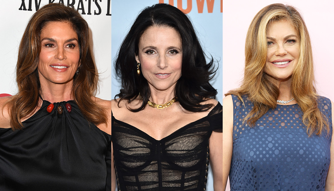 item 9 of Gallery image - Side by side images of Cindy Crawford, Julia Louis-Dreyfus and Kathy Ireland showing off their high volume hairstyle