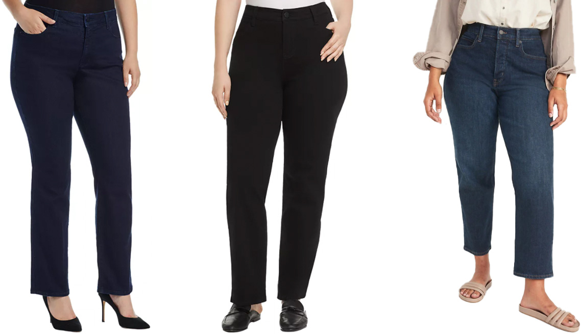 item 5 of Gallery image - (Izq. a der.) Jeans NYDJ Marilyn Straight Leg Jeans en Rinse; jeans Liverpool Los Angeles Plus Sadie Straight-Leg Jeans en Black Rinse; jeans Old Navy Extra High-Waisted Button-Fly Curvy Sky-Hi Straight Jeans for Women en Jay.