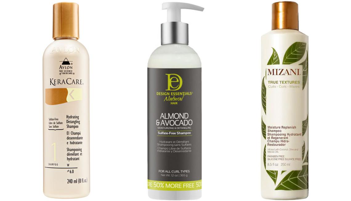 KeraCare Hydrating Detangling Shampoo; Design Essentials Almond & Avocado Sulfate-Free Shampoo; Mizani True Textures Moisture Replenish Shampoo