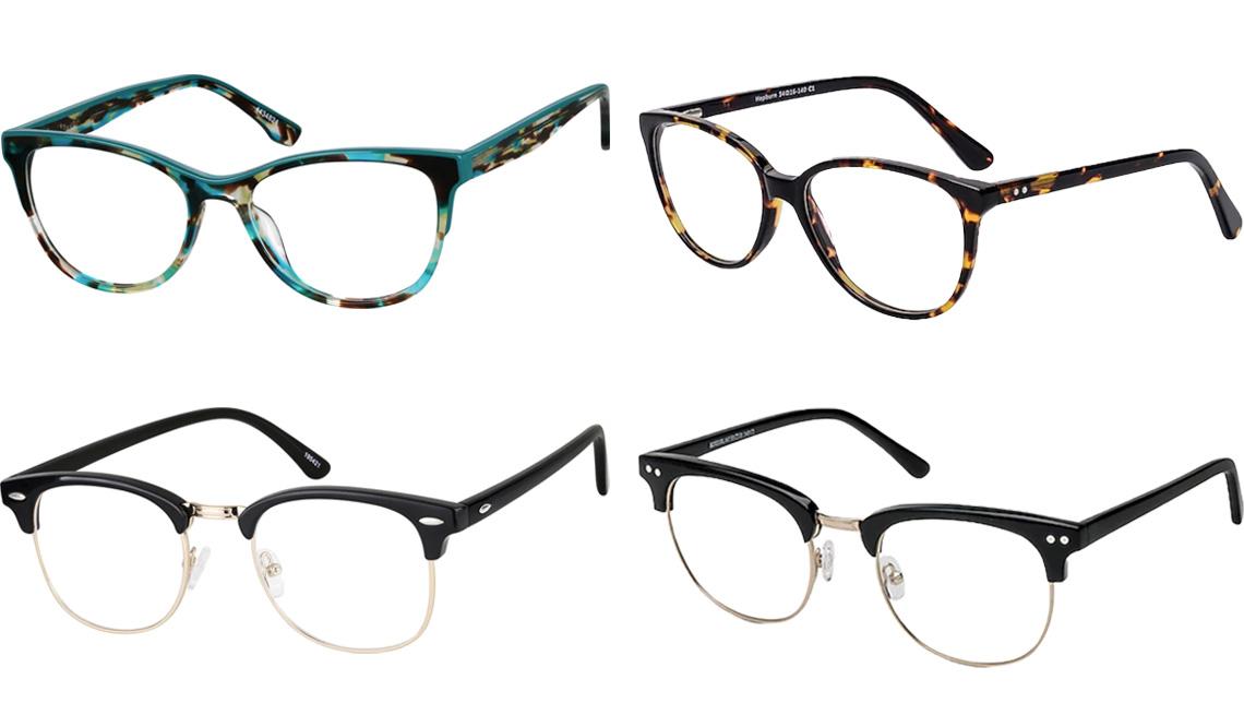 item 6 of Gallery image - Zenni Optical Men's Browline Glasses 195421 in Black; Zenni Optical Women's Cat-Eye Glasses 4434824 in Teal; EyeBuyDirect Hepburn Cat Eye Tortoise Eyeglasses; EyeBuyDirect Borderline Browline Black Eyeglasses