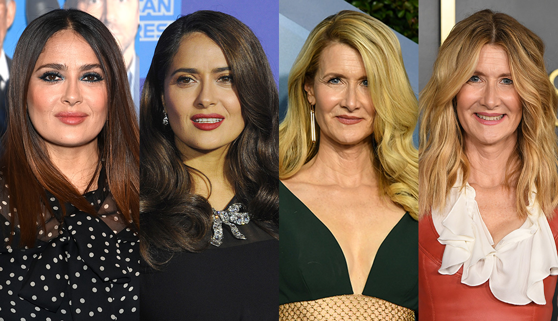 item 4 of Gallery image - Side by side images of Salma Hayek and Laura Dern wearing their hair in middle and side parts