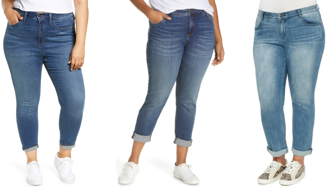 item 3 of Gallery image - (Izq. a der.) Jeans Madewell Plus High Rise Roadtripper Supersoft Jeans ($75, nordstrom.com) con un talle delantero de 13 1/2 pulgadas; jeans Kut From the Kloth Plus Catherine Cuffed Boyfriend Jeans ($89, nordstrom.com) con un talle delantero de 12 pulgad