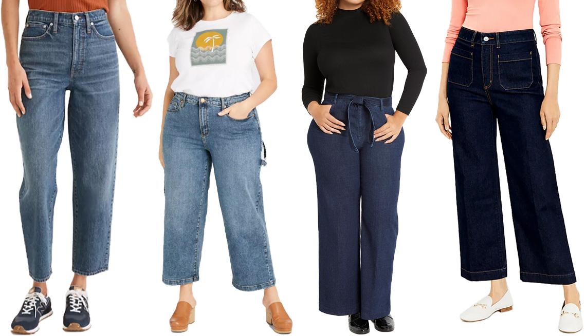 item 8 of Gallery image - (Izq. a der.) Jeans Madewell Balloon Jeans en Corson Wash ($128, madewell.com); jeans Universal Thread Women's High Rise Wide-Leg Carpenter Cropped Jeans en Dark Wash ($30, target.com), en tallas Women's Plus y Women's; jeans Eloquii Classic Fit Belted Hi