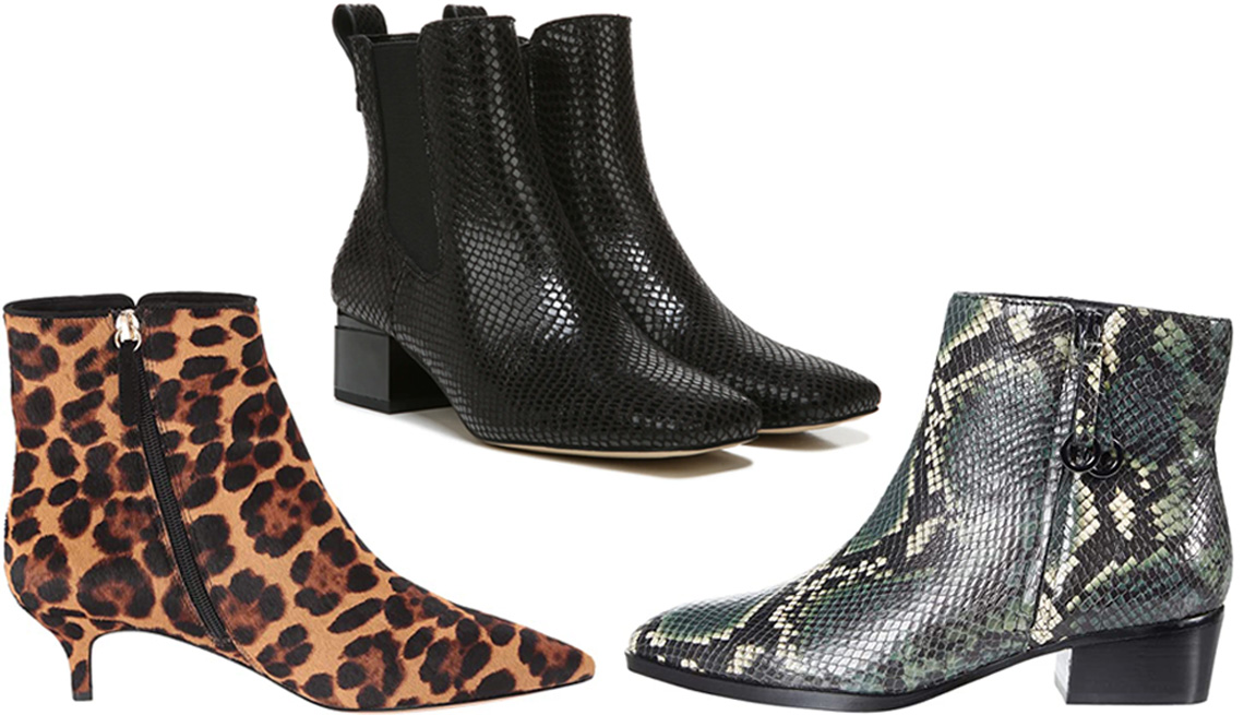 item 9 of Gallery image - J.Crew Emma Haircalf Boot in Rich Mahogany; Franco Sarto Waxton Chelsea Boot in Black Snakeskin; Naturalizer Henry in Green Multi Tonal Snake Leather