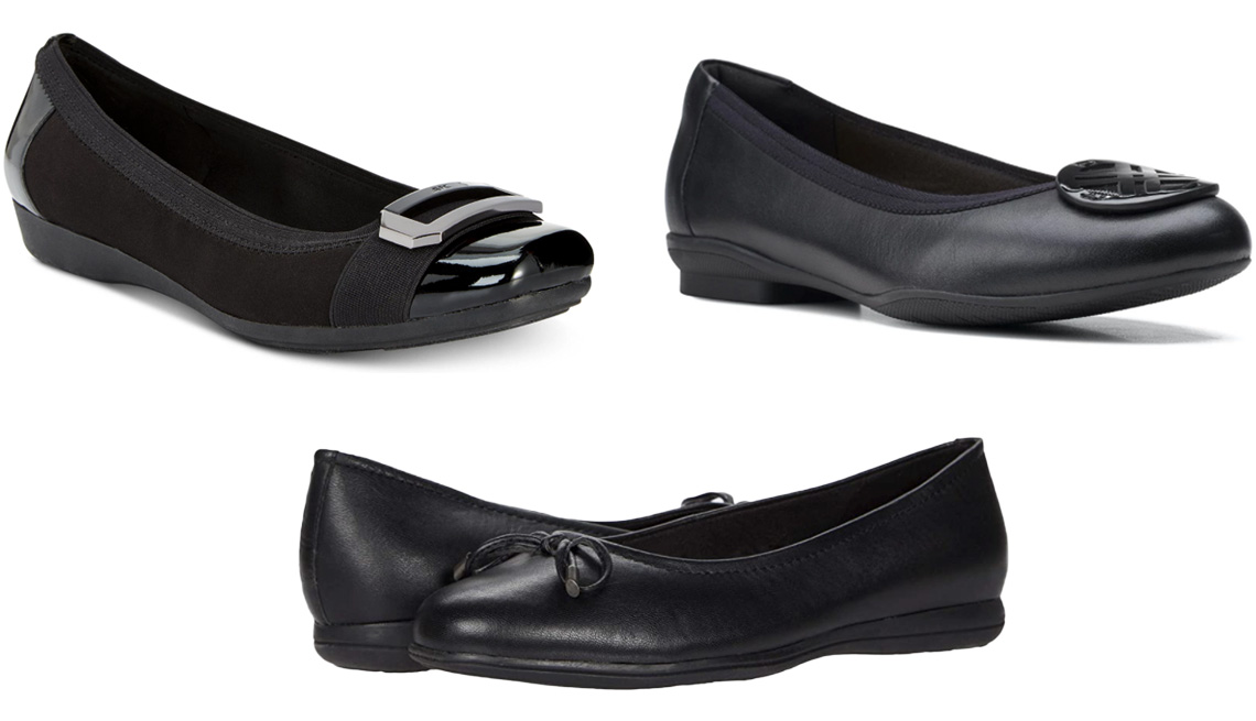 item 2 of Gallery image - Anne Klein Sport Uplift Buckle Flats in Black; Clarks Women's Sara Willow Flats in Black Leather; Trotters Dellis in Black Leather