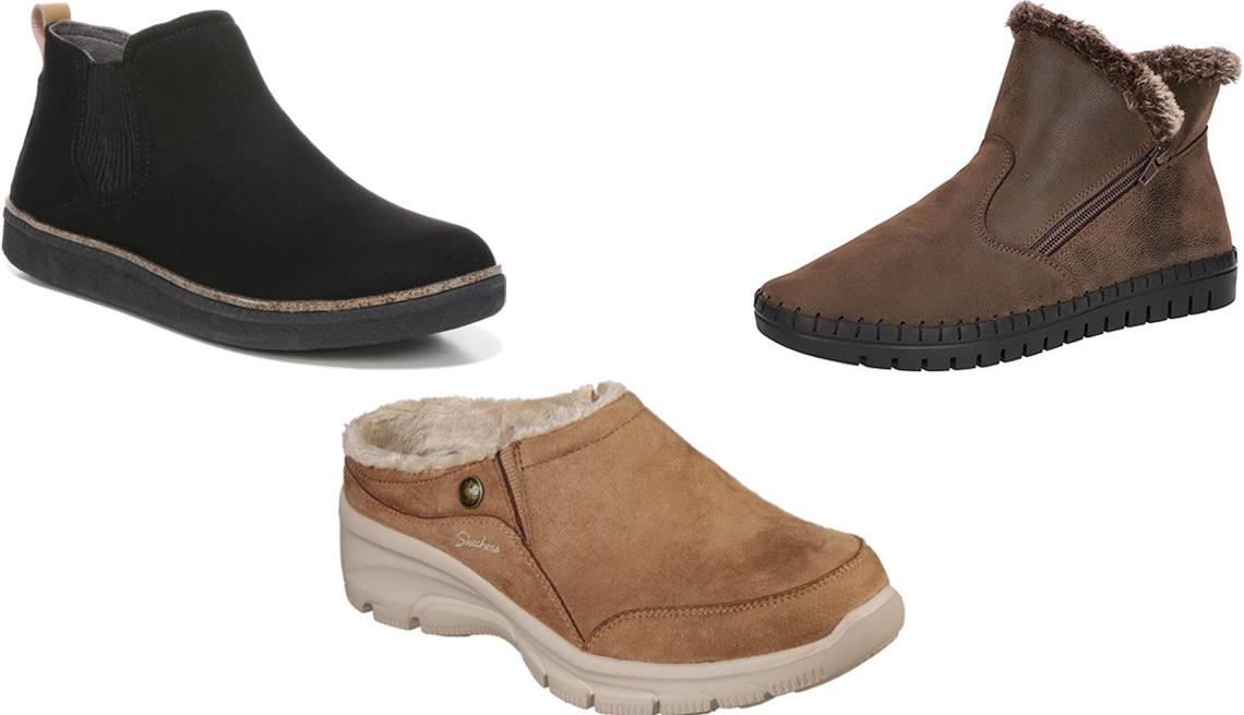 item 6 of Gallery image - Dr. Scholl's See Me Slip-On Booties in Black Microfiber; Easy Street Womens Archie Booties Flat Heel in Brown; Skechers Women's Easy Going Latte Slip-On Shoe in Tan