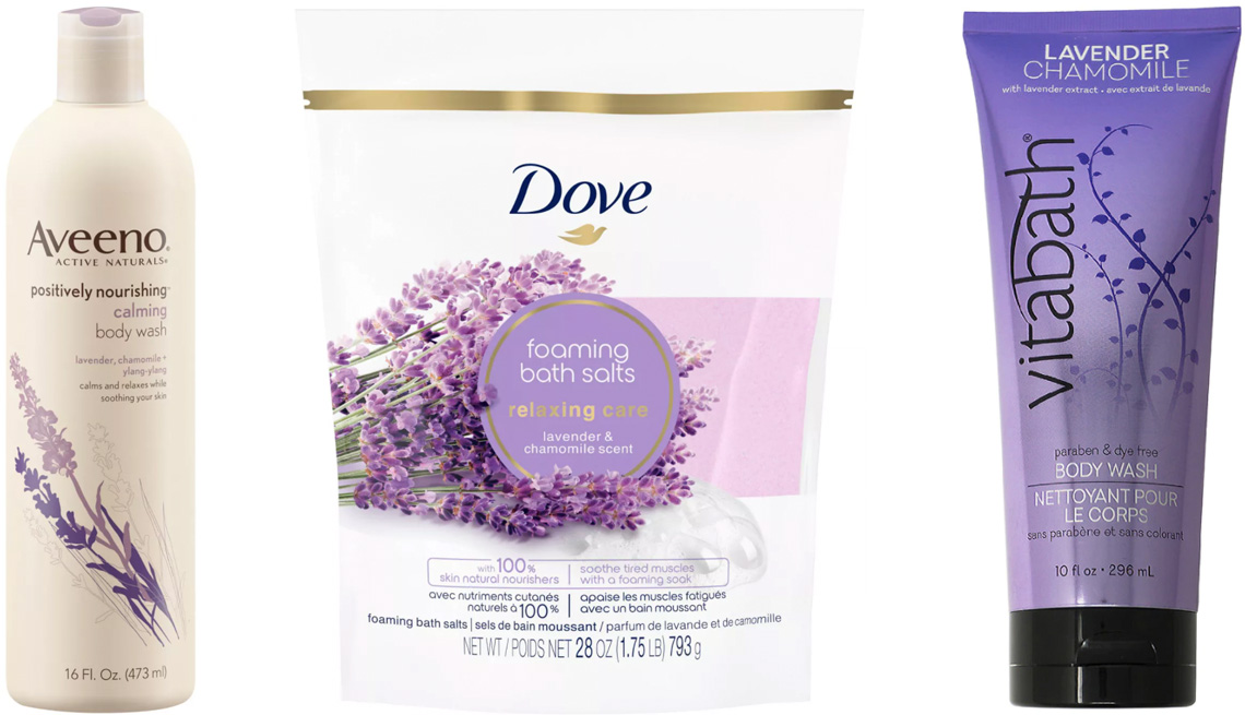 item 8 of Gallery image - Aveeno Positively Nourishing Calming Lavender Body Wash; Dove Nourishing Secrets Relaxing Ritual Bath Salts in Lavender & Chamomile; Vitabath Lavender Chamomile Body Wash