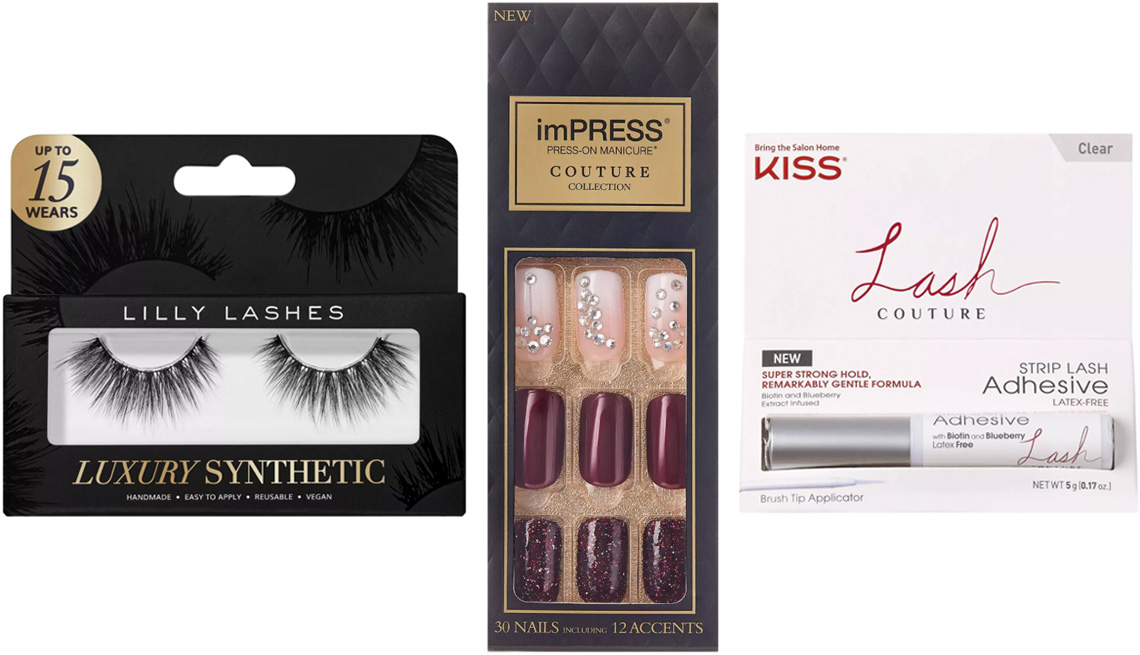 item 9 of Gallery image - Lilly Lashes Luxury Synthetic False Lashes in Posh; Kiss imPress Press-On Manicure Couture Collection in Quartz; Kiss Lash Couture Strip Lash Adhesive False Eyelash Glue in Clear Latex-Free