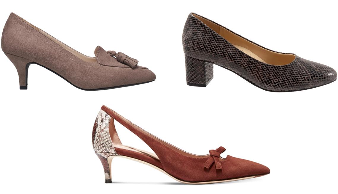 item 1 of Gallery image - H Halston Women's Dubai Tassel Kitten Heel Pumps in Taupe; Trotters Kari Pump in Dark Grey; Cole Haan Women's Modern Classics Bree Pumps