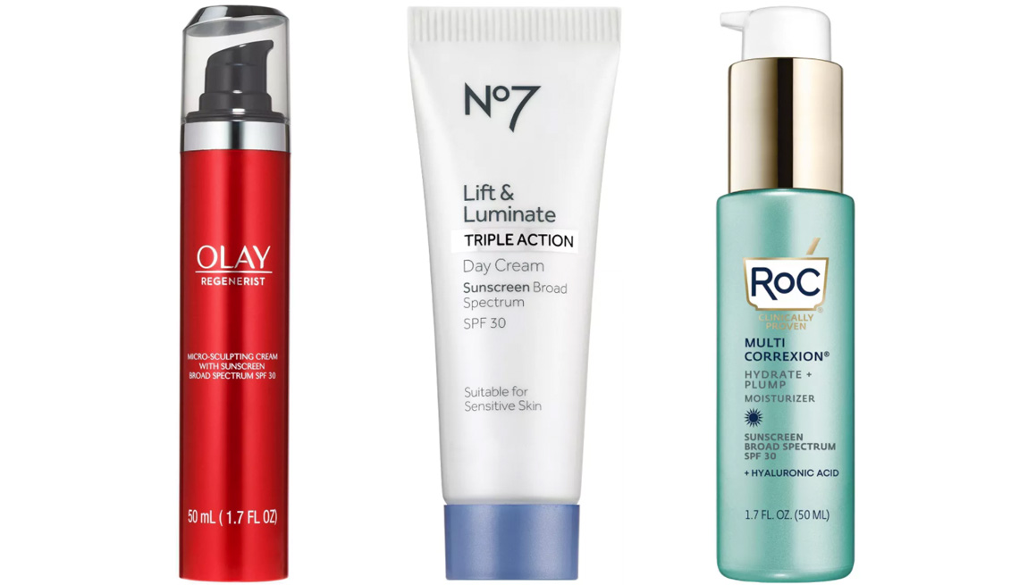 item 3 of Gallery image - Olay Regenerist Micro-Sculpting Cream Moisturizer SPF 30; No7 Lift & Luminate Triple Action Day Cream Sunscreen SPF 30; RoC Multi Correxion Hydrate + Plump Daily Moisturizer with Hyaluronic Acid SPF 30