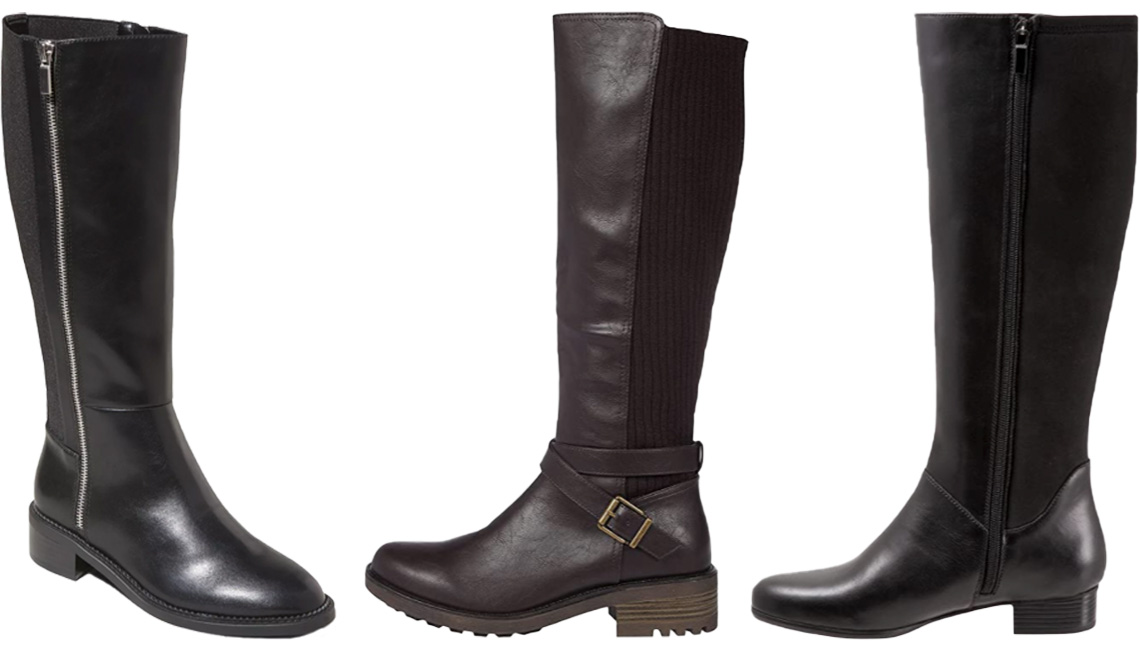 item 4 of Gallery image - A New Day Woman's Abril Tall Boots in Black; LifeStride Karter in Dark Chocolate; Trotters Misty in Black