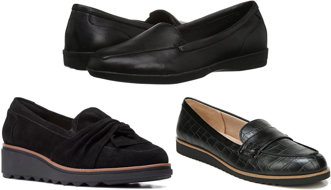 item 7 of Gallery image - Clarks Sharon Dasher Women's Loafers in Black; Easy Spirit Devitt in Black; LifeStride Zee Slip-On Loafers in Black Croco Faux Leather